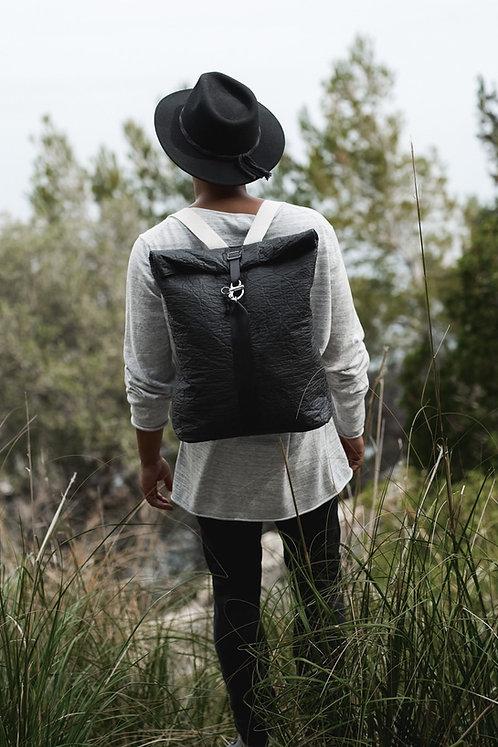 Maravillas Bags, Pinatex, vegan man backpack, Palma, backpack, black, handcrafted in Spain, handmade in Mallorca