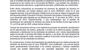 Nuevos plazos de admisión de solicitudes curso 20/21