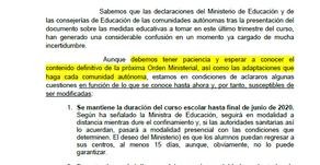 Comunicado a Familias: Últimas Declaraciones desde el Ministerio de Educación