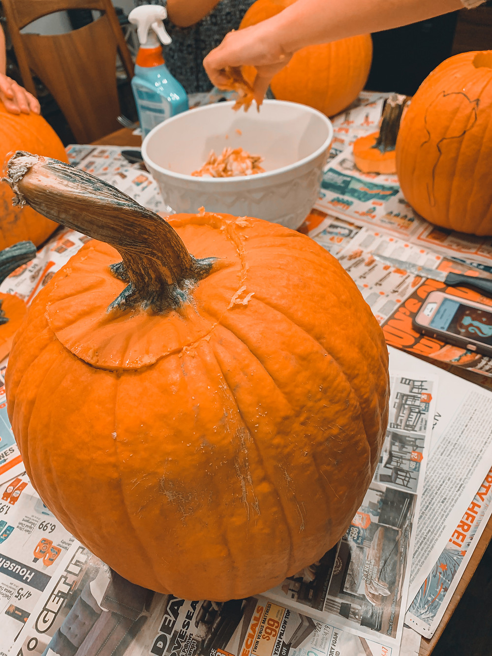 pumpkin carving newspaper orange pumpkin