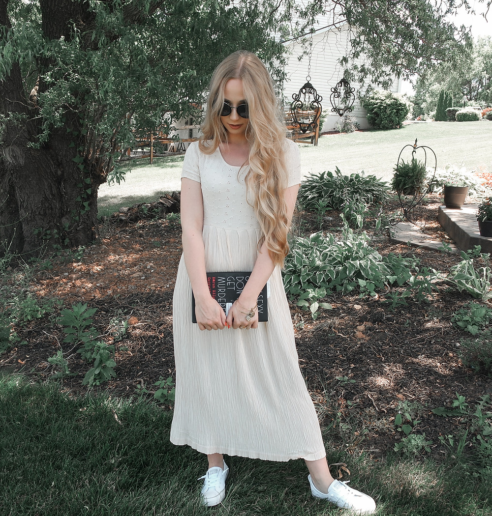 90s, 1990, sundress, 90s sundress, blonde, beach, beachy wavy hair, long hair, long blonde hair, wedding hair, hair inspiration, yellow dress, garden decor, home and gardens, garden lounge, my favorite murder, mfm, murderino, Karen Kilgariff, Georgia Hardstark, April Heil, April M. Heil, The Heil Style, fashion, fashion blogger, blogger, fashion inspiration, top beauty bloggers, fashion tips
