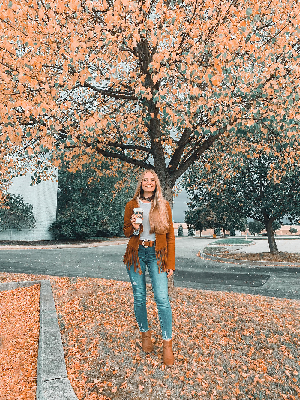 Blonde hair, fall, fall leaves, changing leaves, jeans, fringe suede jacket, scarf, parking lot, fall scene, boots, Starbucks, Starbucks Coffee