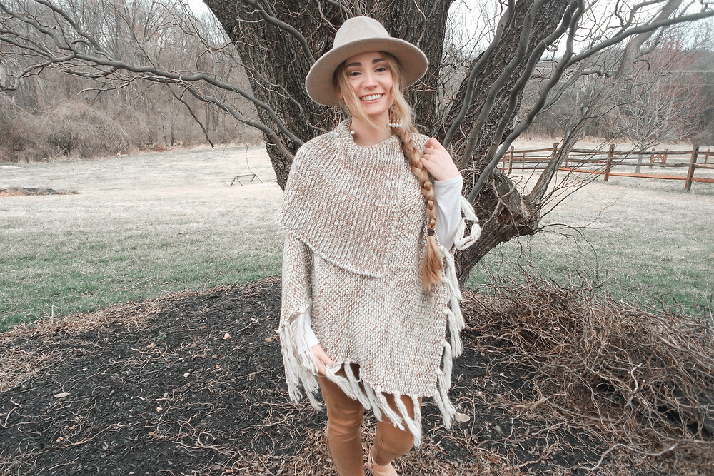 Poncho, western, cowboy, western boho outfit, braid, braided hair, long braided hair, cowboy hat, beaded earrings, Anthropologie, Target, Target fashion finds, bangs, barefoot blonde, barefoot blonde hair, boho, gypsy, Stevie Nicks, long hair, long blonde hair, long blonde hair ideas, corona virus, COVID-19, corona