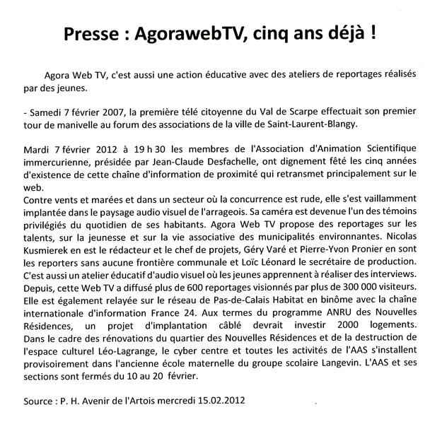 L'Avenir de l'Artois du 15 février 2012