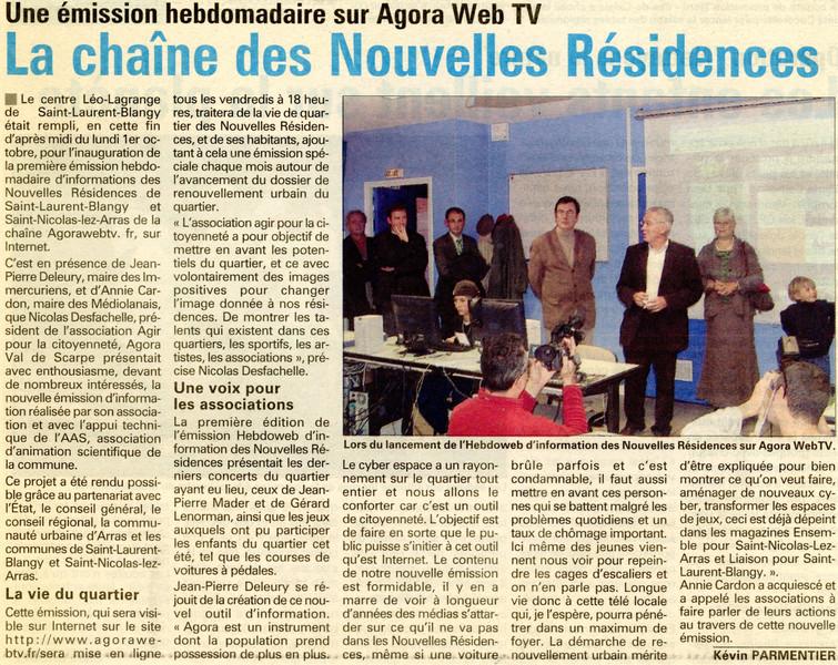 L'Avenir de l'Artois du 10 octobre 2007