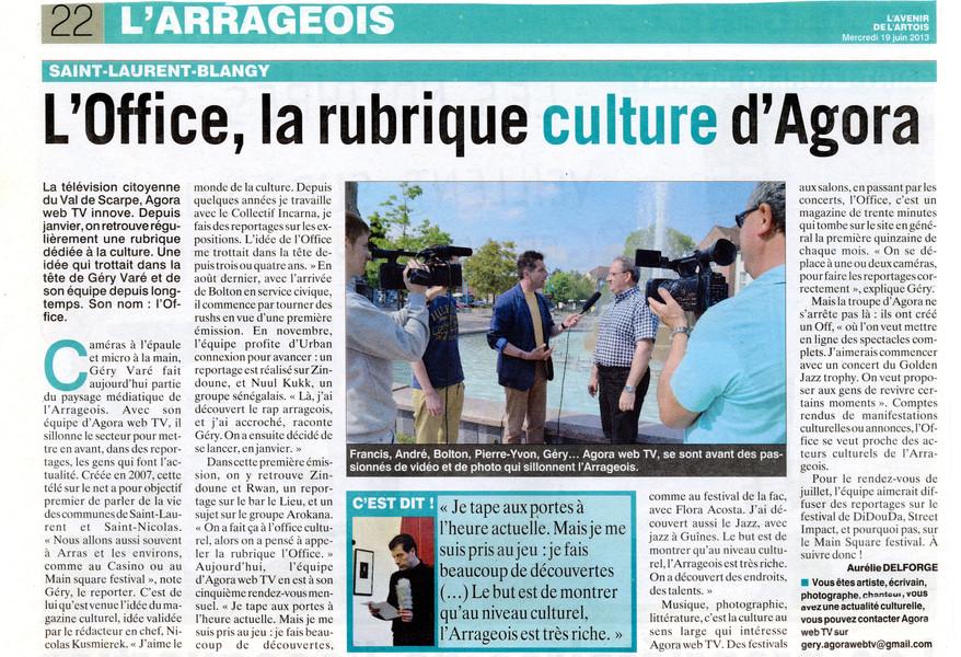 L'Avenir de l'Artois du 19 juin 2013