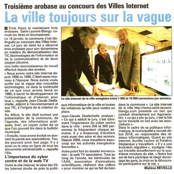 L'Avenir de l'Artois du 3 février 2011