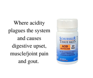 Bottle of Nat Phos Tissue Salt and text: Where acidity plagues the system and causes digestive upset, muscle/joint pain, and gout.