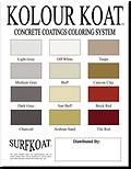 14 color options SurfKoat Kolour Koat chart