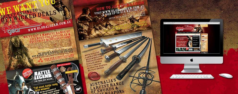 Global gear, wicked replicas, swords, preditor, brochure design, web design, logo design