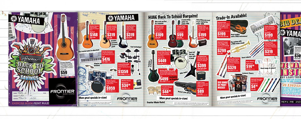 sales catalogue, music gear, brochure design, cut and paste layout