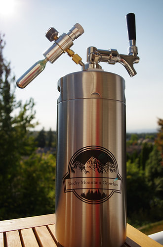 1 gallon (128oz) Stainless Steel mini-keg with tap and CO2 pressure regulator.