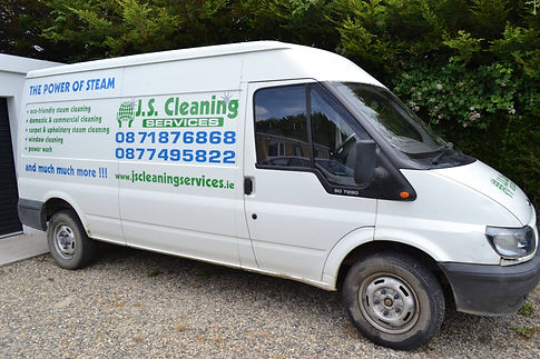 JS Cleaning Services business white van with the business contact details