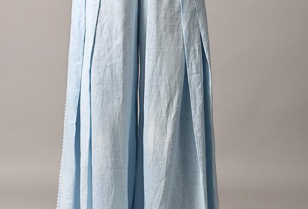 CROSS Linen pants with neoprene cutwork detail