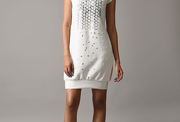 SPORT  white all-over metallic applique shift dress
