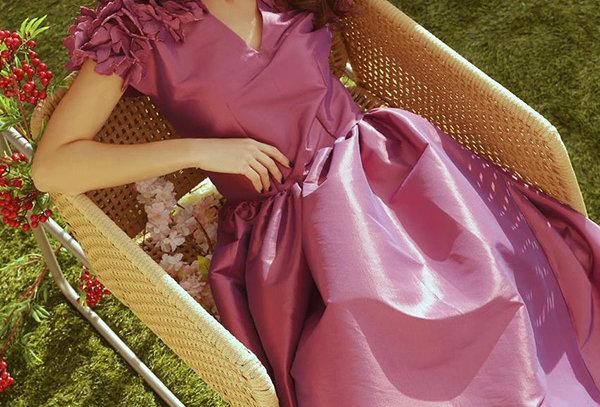 BOA (P) Drop waist Silk Tafetta Dress
