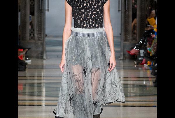 WILD 01 Sheer Organza Skirt with Pleats at Waist