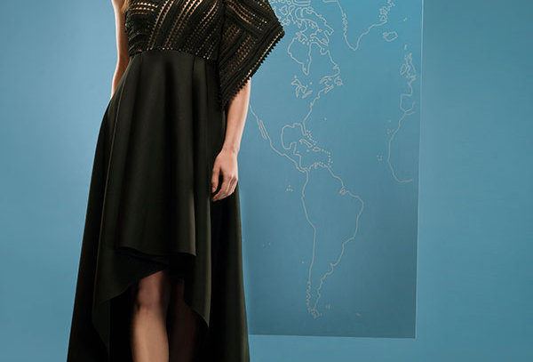 BEL Highlow gown with cutwork