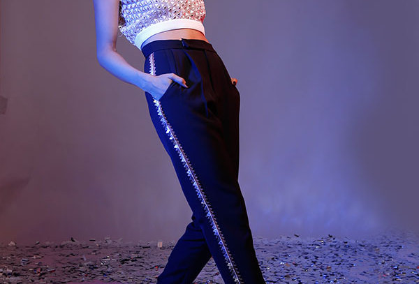 DRAMA Black pants with metallic cutwork stripe