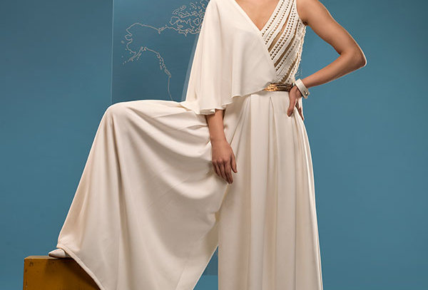 BELLA Box Pleated Jumpsuit with Cutwork detail and metallic belt