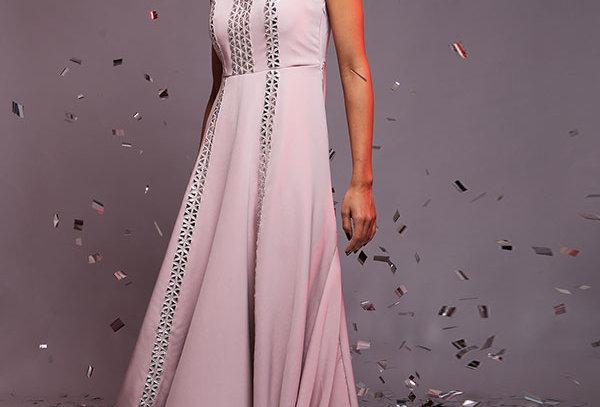 Dusky pink organza yoke drape gown