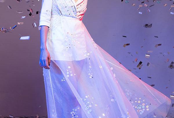 White playsuit w/ sheer organza skirt - COMO 01