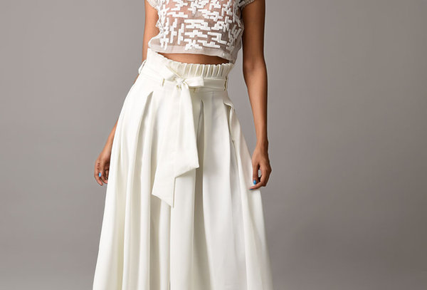 RFLP White ruffle paperbag trousers with belt