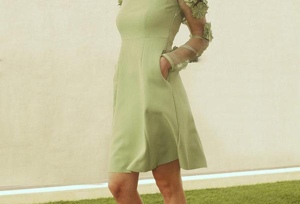 ELLE Floral Textured Organza Sleeves Dress