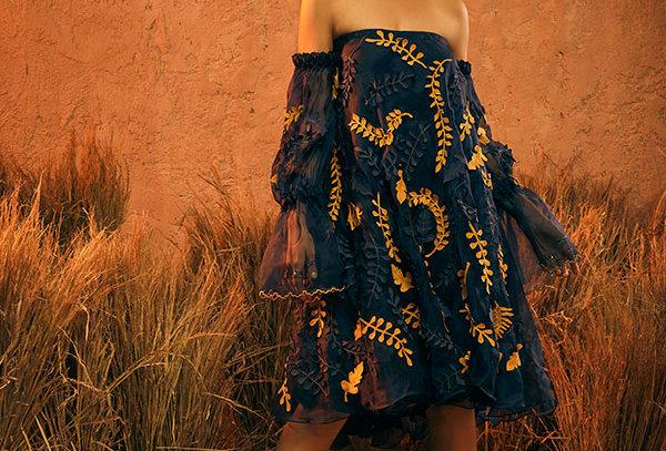 MOHA (B)Organza Off Shoulder Dress with appliqué motifs