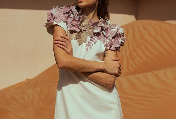 ROSA Shift Dress with shimmer appliqué motifs