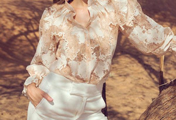 MAHE Chantilly lace cutwork shirt