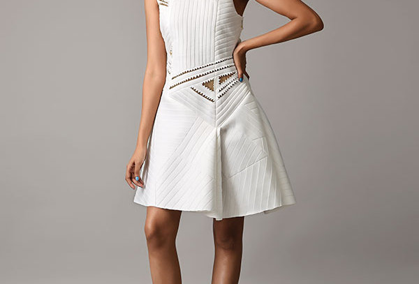 Short neoprene quilted one shoulder dress w/cutwork - TRG-01