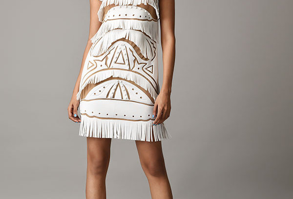 FRG 01 Handcrafted Cutwork Fringe Dress with beige lining.
