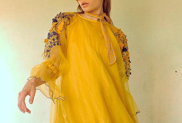 SAGA Raglan sleeve Layered Organza Dress with threadwork.