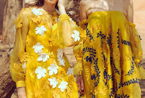 SAGE Organza Palm motif appliqué short dress