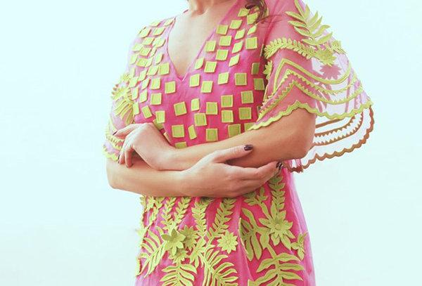 SAMUI Organza Dress with appliqué and cutwork