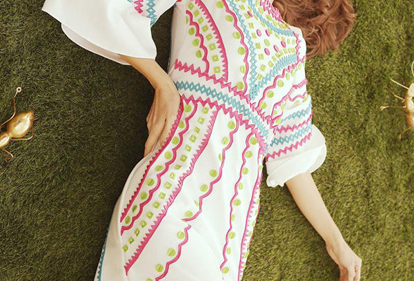 Pattern Dress with Bell sleeves - RIO (W) 01