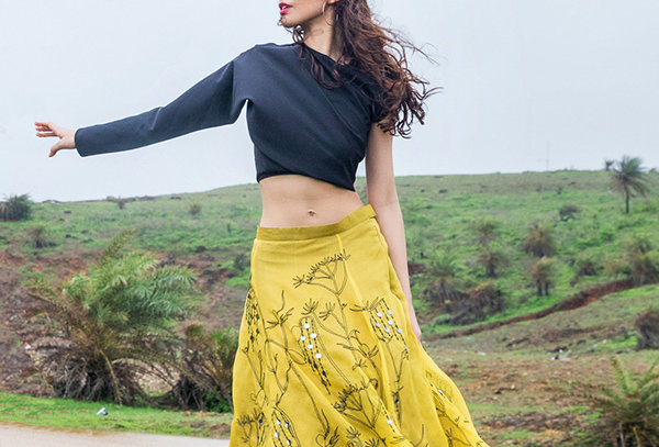 Handcrafted Lehenga with Applique and Leather work