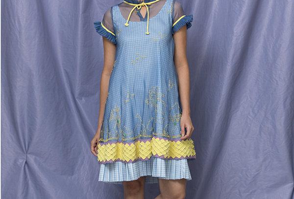 TISA Organza Layered Dress with printed Inner