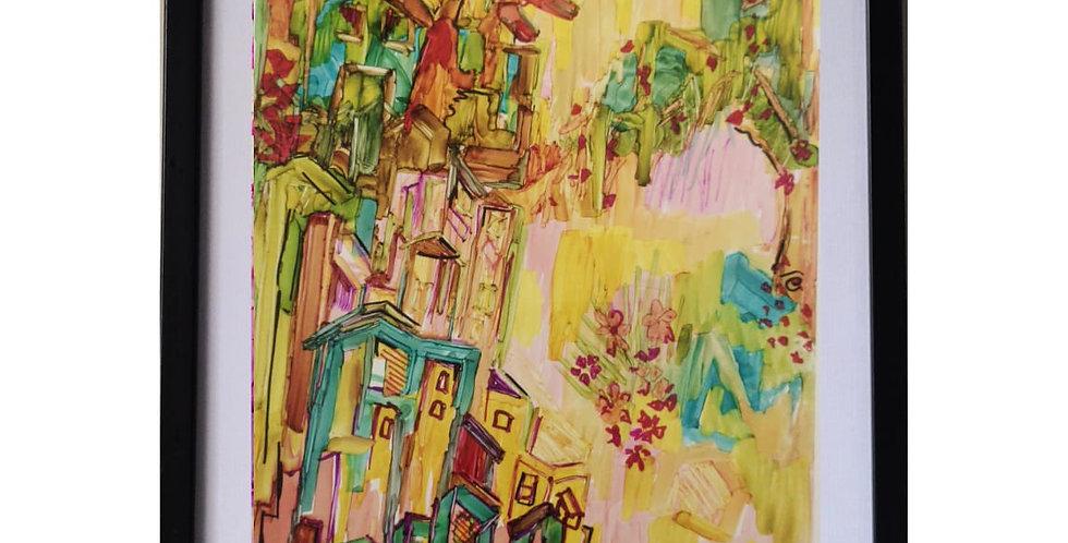 DUBAI BEACH BECKONS,MIX MEDIA ART