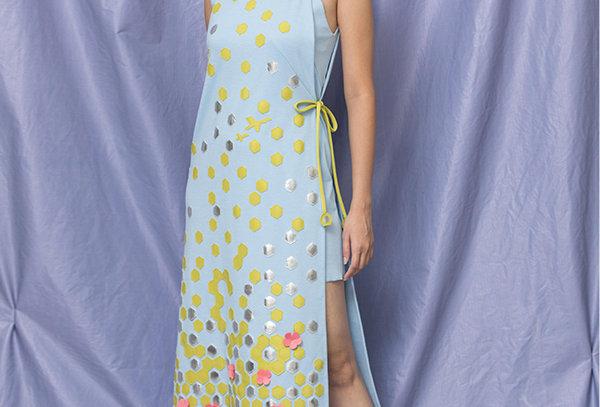 Halter Neck dress with Hexagon Applique - BIRDY(D)01