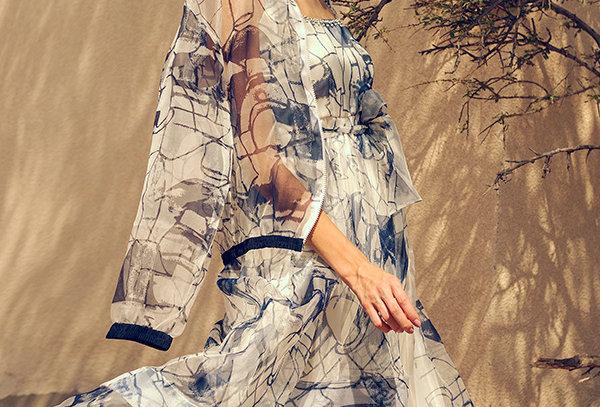 ZOYA Block-Printed layered sleeveless dress with belt