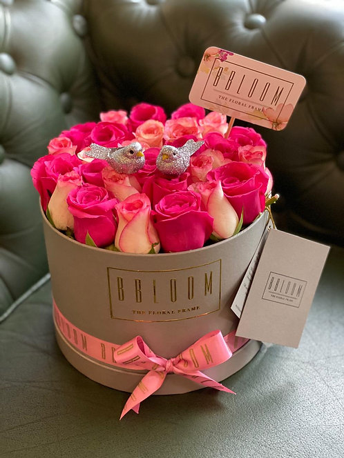 Luxe two tone bucket of roses with birdies