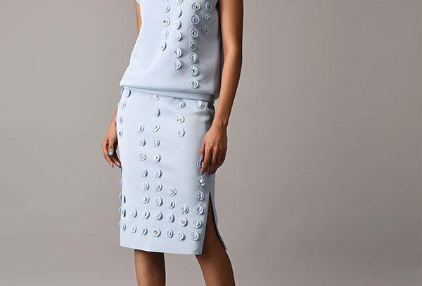 Neoprene skirt w/applique circles  - CIRQS-01
