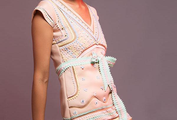 CAKE Neoprene pastel appliqué dress