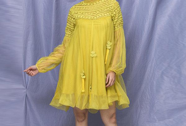 Geometric Applique Balloon Sleeve Dress