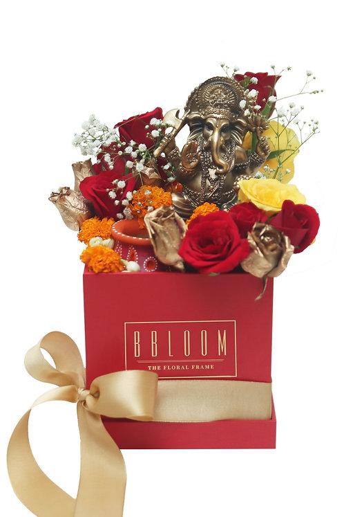 Ganesh and Diya Box with Fresh Flowers