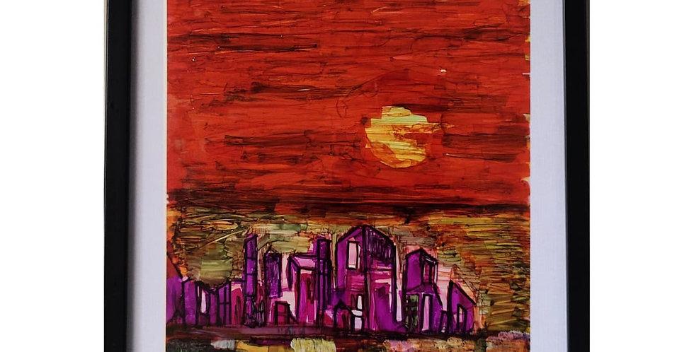DAZZLE IN RED,MIX MEDIA ART