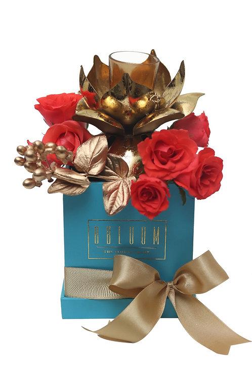 Diya Box with Fresh Flowers