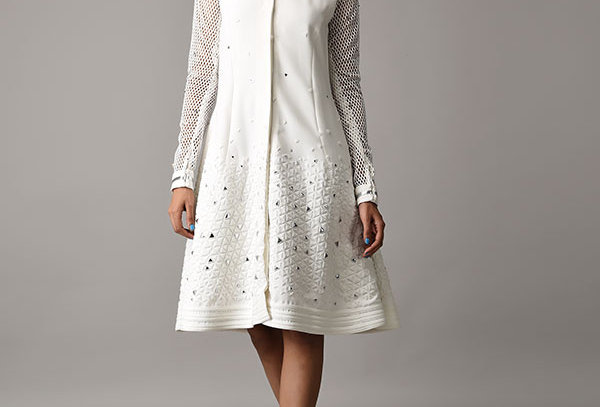 HILL White jacket dress with metallic applique